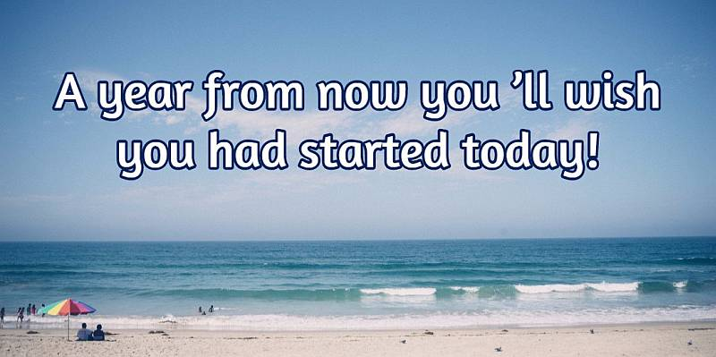 A year from now you 'll wish you had started today!